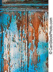 ser, usado, antigas, pintura, pintado, desfolha, textura, experiência., madeira, lata, desligado, ou, parede