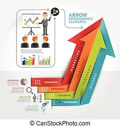 ser, usado, bandeira, negócio, workflow, abstratos, número, esquema, diagrama, passo, desenho, teia, seta, infographics, template., opções, lata
