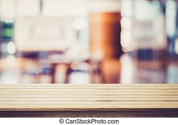 ser, usado, restaurante, madeira, -, exposição, products., lata, fundo, borrão, tabela, seu, vazio