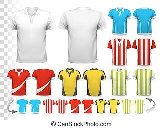 ser, utilizado, vector., colección, transparente, camiseta, ...