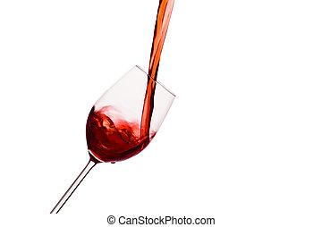ser, vidrio, vertido, vino rojo