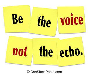 ser, voz, dizendo, citação, nota pegajosa, não, eco
