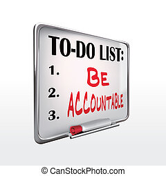 ser, whiteboard, to-do, accountable, lista, palabra