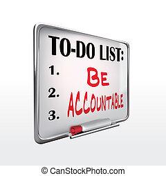 ser, whiteboard, to-do, accountable, lista, palavra