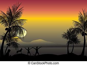 sera, bambini, beachfront, rilassante, madre