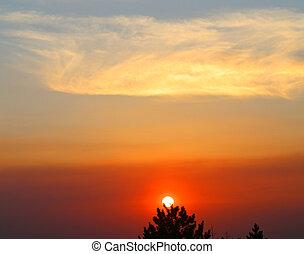 sera, bello, tramonto, foto