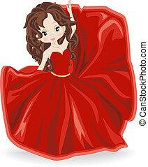 sera, brunetta, vestire, ragazza, rosso