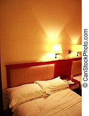 sera, dentro, tempo, colori, camera letto, morbido