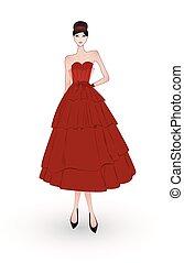 sera, moda, vestire, ragazza, rosso