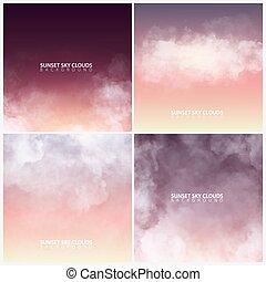 sera, set, illustration., cielo, clouds., realistico, vettore, tramonto, bianco