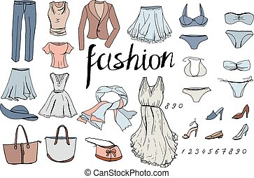 sera, set, oggetti, clothes., donna, white.