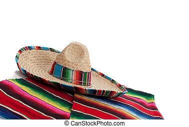 serape, en, sombrero, op, een, witte achtergrond, met, de ruimte van het exemplaar