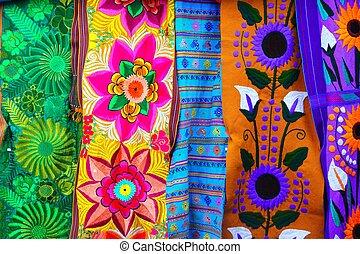 serape, mexicaanse , weefsel, kleurrijke, met de handen...