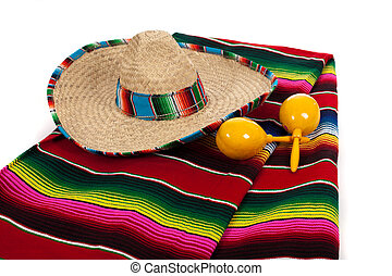 Serape, sombrero and maracas on a white background
