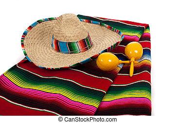 serape, sombrero, en, maracas, op, een, witte achtergrond
