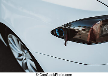serbatoio, tesla, automobile, concept., taillight., automobile