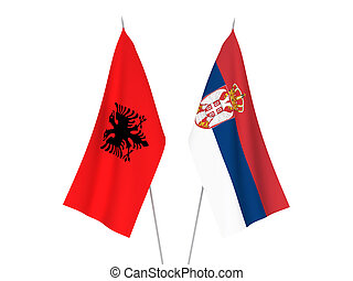 Serbia and Albania flags - National fabric flags of Serbia ...