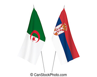 Serbia and Algeria flags - National fabric flags of Serbia ...