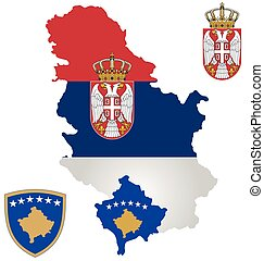 Serbia and Kosovo Flag - Flag the Republic of Serbia and the...