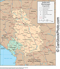 Serbia and Montenegro - Vector map. Marked geographical and...