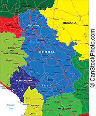 Serbia and Montenegro map - Highly detailed vector map of...