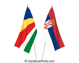 Serbia and Seychelles flags - National fabric flags of ...