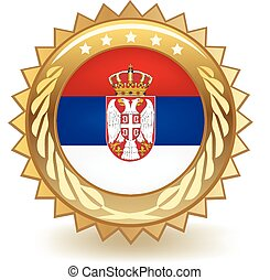 Serbia Badge - Gold badge with the flag of Serbia.