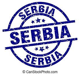 Serbia blue round grunge stamp