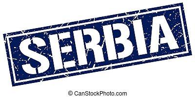 Serbia blue square stamp