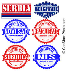 Serbia cities stamps - Set of grunge rubber stamps with...