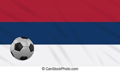 Serbia Civic flag waving and football rotates loop - Serbia...