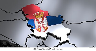 Serbia - country borders and flag - 3D illustration