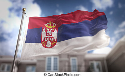 Serbia Flag 3D Rendering on Blue Sky Building Background