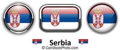 Serbia flag buttons, 3d shiny vector icons.