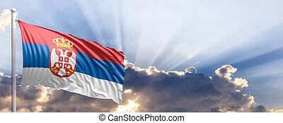 Serbia flag on blue sky. 3d illustration
