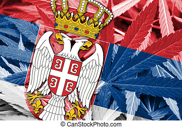 Serbia Flag on cannabis background. Drug policy. ...