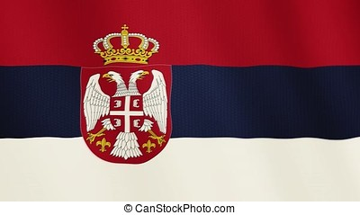 Serbia flag waving animation. Full Screen. Symbol of the country.
