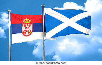 Serbia flag with Scotland flag, 3D rendering
