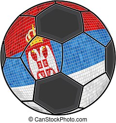 Serbia flag with soccer ball background