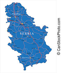 Serbia map - Highly detailed vector map of Serbia with...