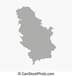 Serbia map in gray on a white background