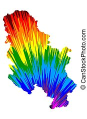 Serbia - map is designed rainbow abstract colorful pattern