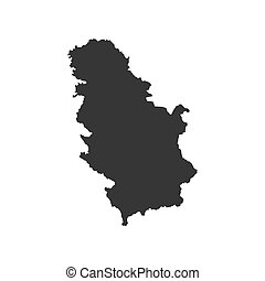 Serbia map silhouette