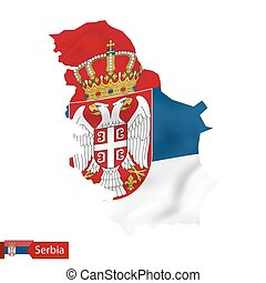 Serbia map with waving flag of Serbia.