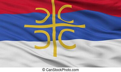 Serbia Nationalistic Flag Closeup Seamless Loop - Serbia...