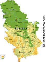 Serbia physical map - Highly detailed physical map of the...
