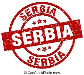 Serbia red round grunge stamp