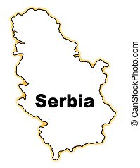 Serbia - Outline map of Serbia over a white background