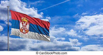 Serbia waving flag on blue sky. 3d illustration