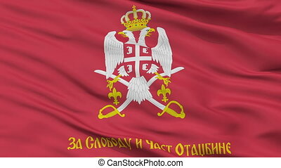 Serbian Armed Forces Reverse Flag Closeup Seamless Loop -...